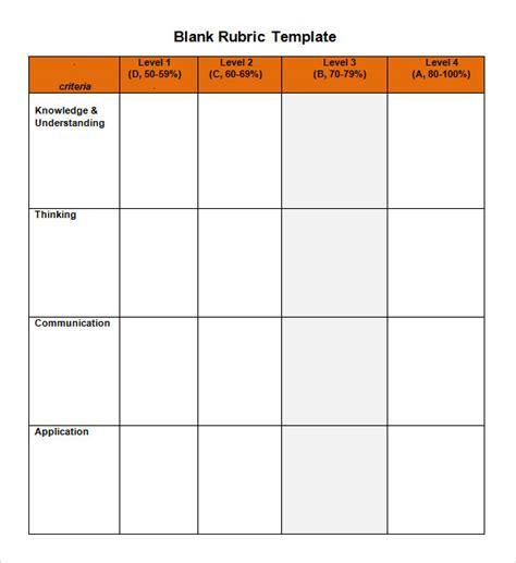 rubric template word 10 blank rubric sles sle templates