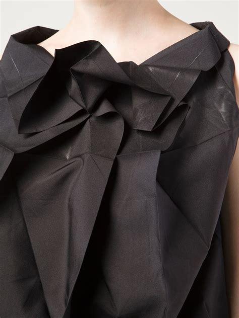 issey miyake origami style sleeveless top  black