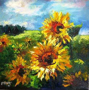 oil painting on canvas sunflowers in fields – shop online