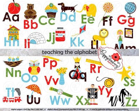 Teaching The Alphabet Clipart & Digital Flashcards