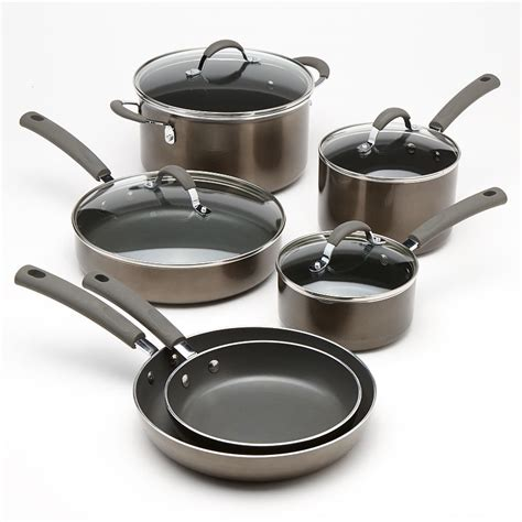 cookware food enamel network kohls nonstick pc brown metallic pans pots display pcs actual
