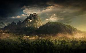 art nature forest clouds photoshop fantasy mountain HD ...
