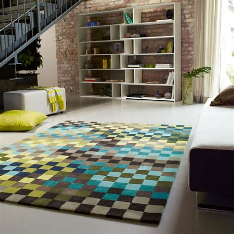 tapis pixel moderne bleu  vert esprit home
