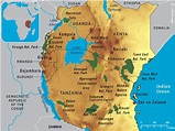 Map Of East Africa Showing Historical Sites | Map Of Africa