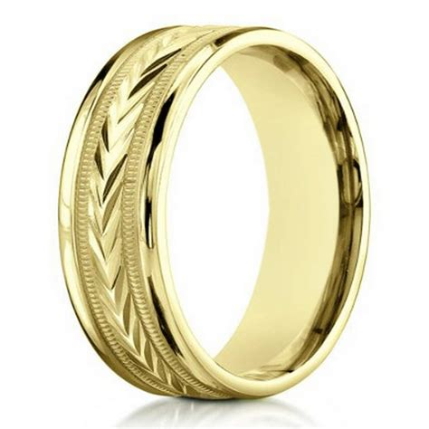 14k yelllow gold contemporary wedding band for men 6mm width
