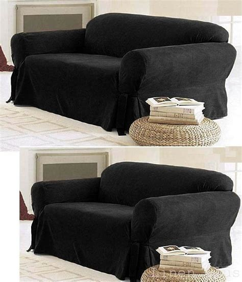 Black Loveseat Cover by 2 Pc Black Micro Suede Sofa Loveseat Slip Cover New