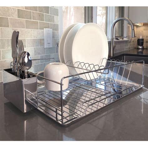 shop modern kitchen chrome plated  tier dish drying rack  draining board organized utensil