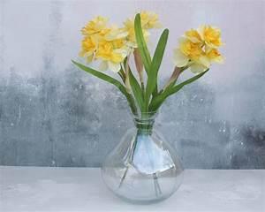 daffodils in bowl glass vase by abigail bryans designs