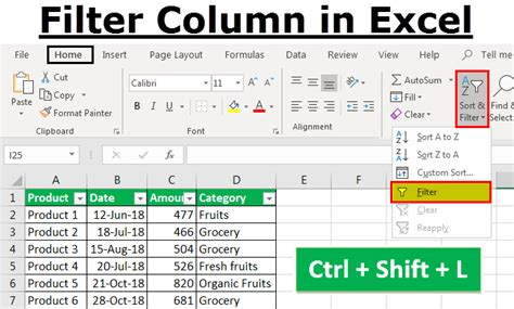 add filter  excel step  step    filters