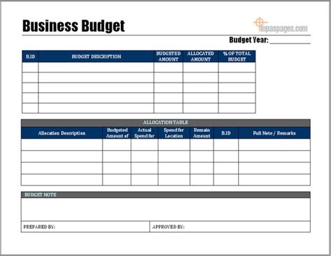 Excel Business Budget Template Free Download