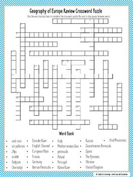 geography of europe review crossword puzzle by winning with social studies