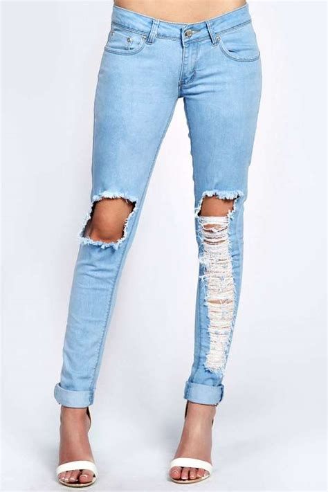ripped for light blue boohoo light wash ripped leg