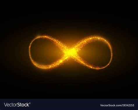 Infinite Background Infinity Symbol Background Light Yellow Gold Neon Vector Image