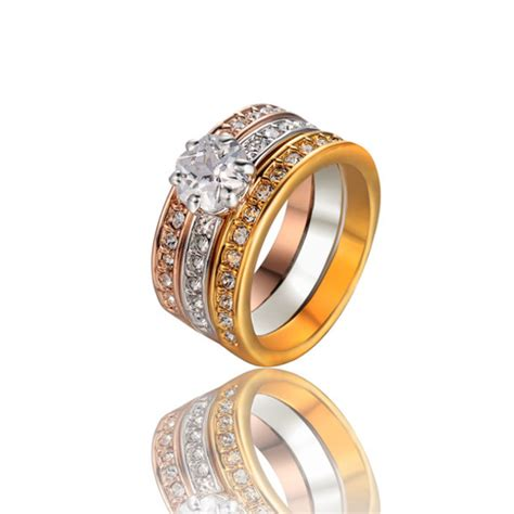 jewels 3 color plated ring three in one rings wedding