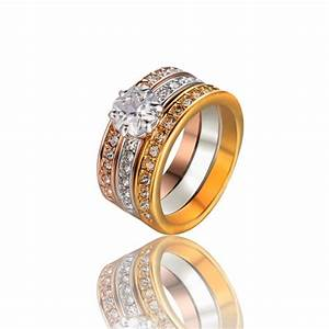 jewels 3 color plated ring three in one rings wedding With wedding ring colors
