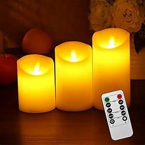 Led Kerzen Mit Timerfunktion : liqoo 3er set flammenlose led kerzen echtwachskerze mit beweglicher flamme timerfunktion mit ~ Yasmunasinghe.com Haus und Dekorationen