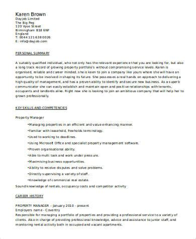sample property manager resume templates  ms