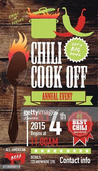 cute chili cookoff invitation design template  wooden