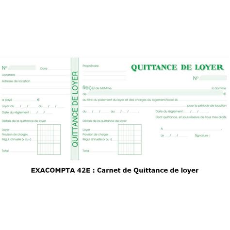 modèle quittance de loyer word quittance de loyer carnet 224 souche exacompta 42e arc