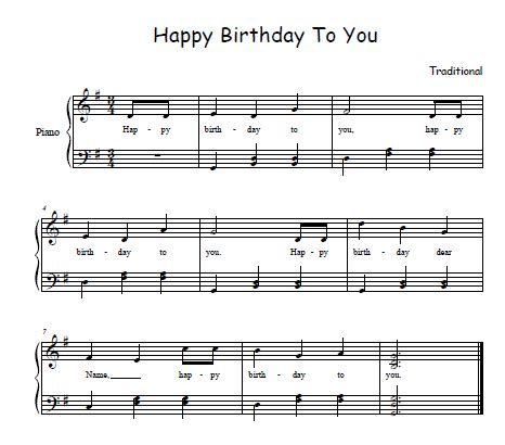 From a youtube video, click the bookmark to find it's sheet music. Happy Birthday Song Sheet Music for Free! | Happy birthday song, Birthday songs, Music happy