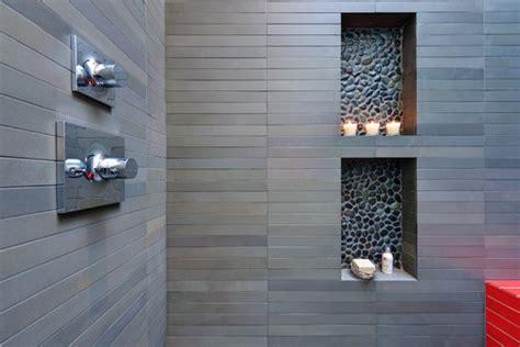 black pebble tile shower niche accent pebble tile shop