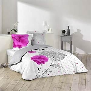 Housse De Couette Grise Et Rose : housse couette 220x240 cm 100 coton eclat fleur rose et gris ~ Teatrodelosmanantiales.com Idées de Décoration