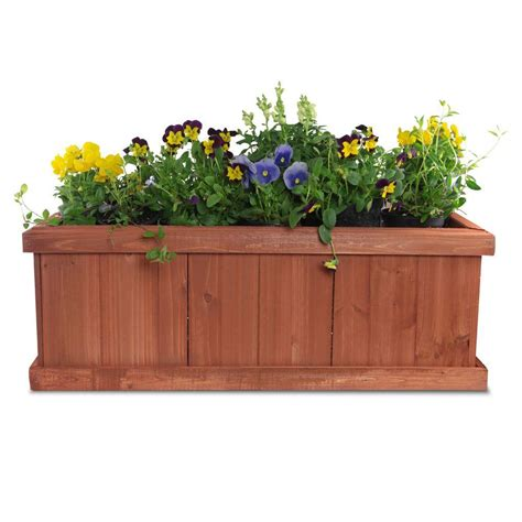 home depot planter box pennington 28 in x 9 in wood planter box brown shop