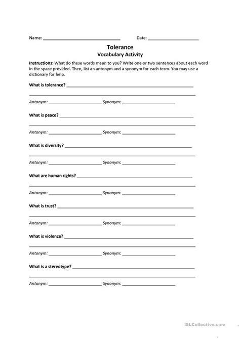 Tolerance Worksheet  Free Esl Printable Worksheets Made By Teachers