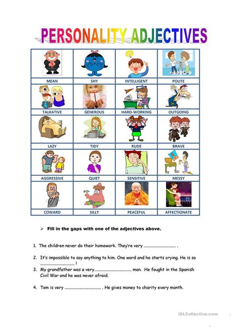 personality descriptions worksheet  esl printable