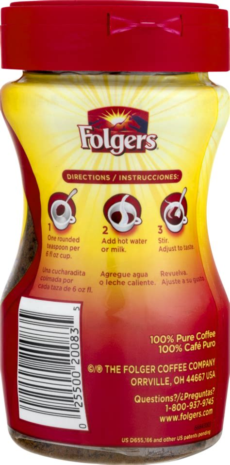 Classic roast, instant coffee crystals. 25 Folgers Coffee Nutrition Label - Labels Ideas For You