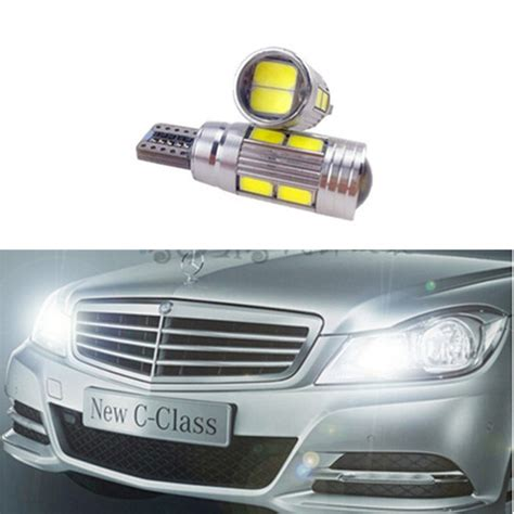 2x t10 car led w5w white canbus projector lens parking