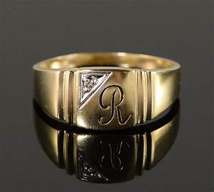 10k 53g diamond r monogram initial letter men39s yellow With 10k gold letter rings