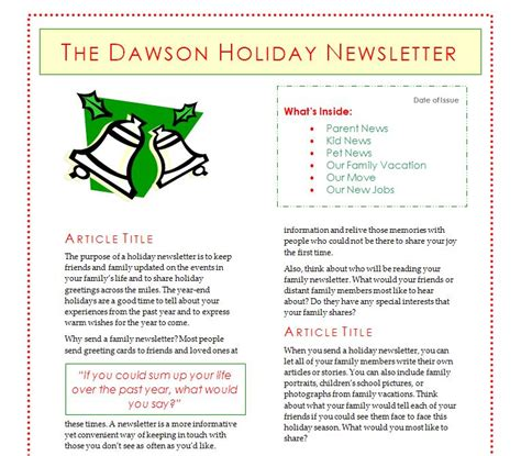 Christmas Newsletter Template | Search Results | Calendar 2015