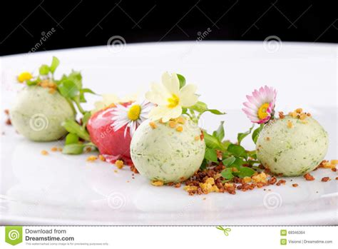 Dessert is a special part of everyone's day: Fine Dining Dessert, Strawberry/Kiwi Ice Cream Stock Photo - Image of dinner, cook: 69346364
