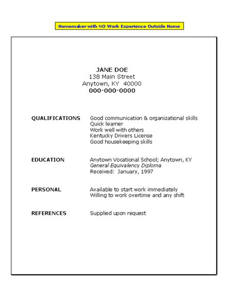 examples of work experience on a resume resume for homemaker with no work experience job search