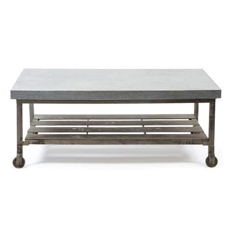 industrial metal coffee table steeltown industrial loft galvanized steel coffee table