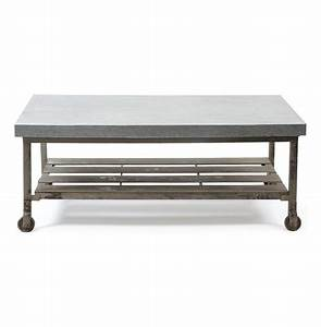 Steeltown industrial loft galvanized steel coffee table for Galvanized metal coffee table