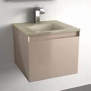 Meuble salle de bain taupe 40 cm 1 tiroir plan verre glass for Meuble salle de bain 40
