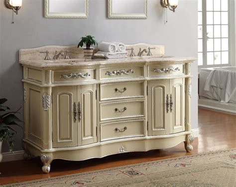 Adelina 64 Inch Antique Pastel Finish Double Sink Bathroom