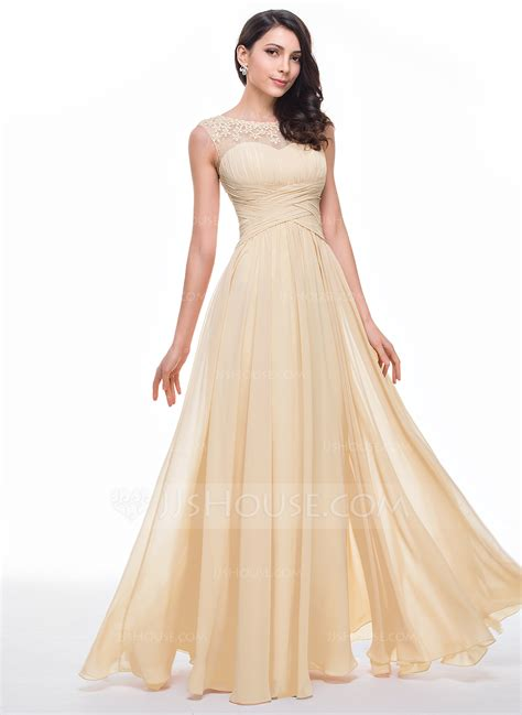 House Prom - a line princess scoop neck floor length chiffon prom dress