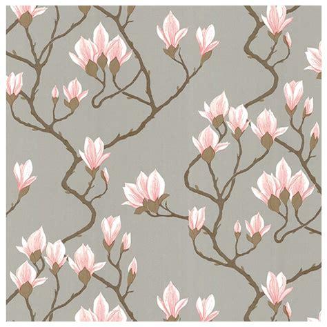Tapisserie Fleurs by Papier Peint Magnolia Fond Argent 233 Et Fleurs De Magnolia