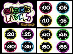 Classroom Freebies Neon Clock Labels