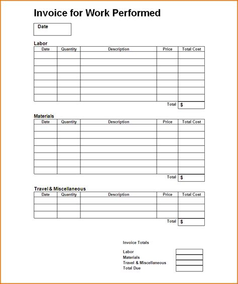 work invoice template authorizationlettersorg