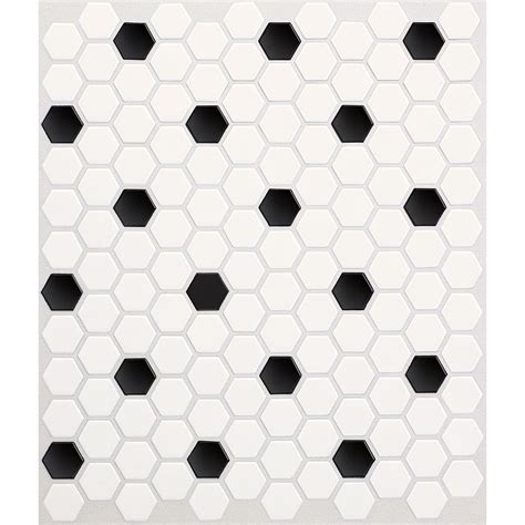 black white mosaic floor tiles shop american olean 10 pack satinglo hex ice white with black dot ceramic mosaic random floor