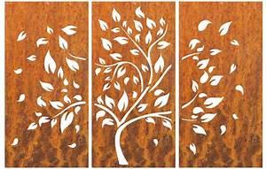 Sichtschutzwand, 3, Teilig, Muster, Baum