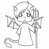 Coloring Halloween Devil Pages Pitchfork Engeltje Sheet Books Categories Similar sketch template