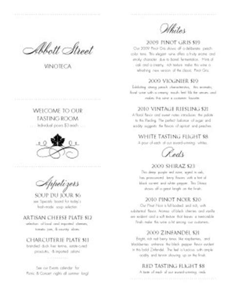 Winery Tasting Menu | Design Templates by MustHaveMenus