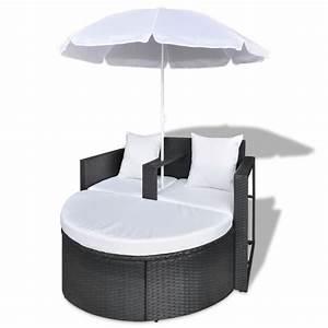 Polyrattan Lounge Set : black garden poly rattan lounge set with parasol outdoor ~ Whattoseeinmadrid.com Haus und Dekorationen