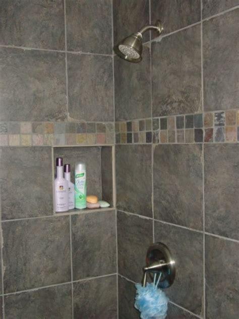 custom recessed shower shelf decorative tile band yelp