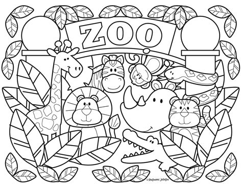 zoo coloring pages printable free by stephen joseph